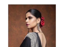 Sai Tamhankar in a black saree by mint n oranges