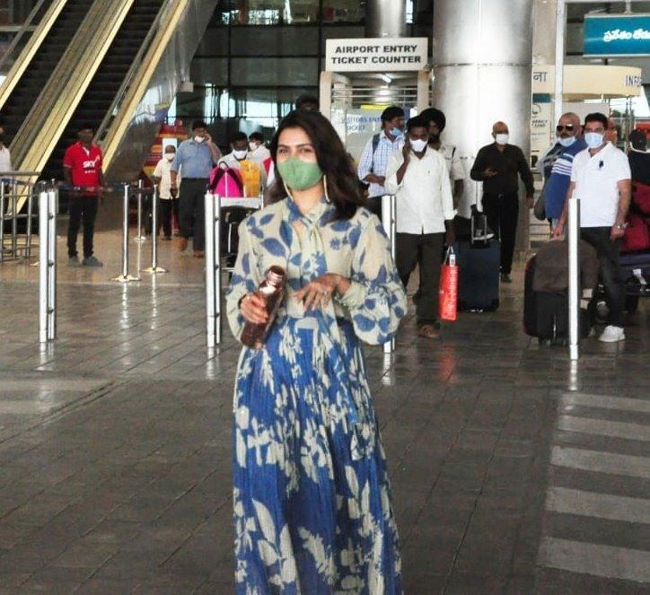 Samantha Akkineni in blue koAi outfit at RGI