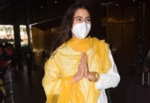 Sara ali khan in a white salwar suit at Mumbai airport6
