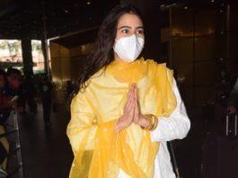 Sara ali khan in a white salwar suit at Mumbai airport6