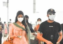 Shalini and Nithiiin at airport to visit tirupati5.1
