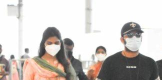 Shalini and Nithiiin at airport to visit tirupati5.1