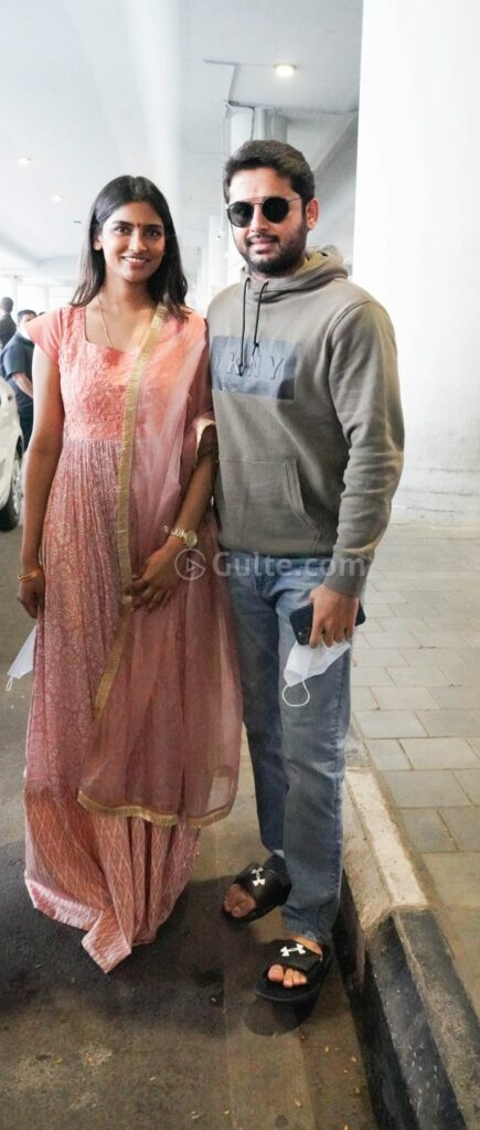 Shalini and Nithiin at Rgi after tirupati visit1