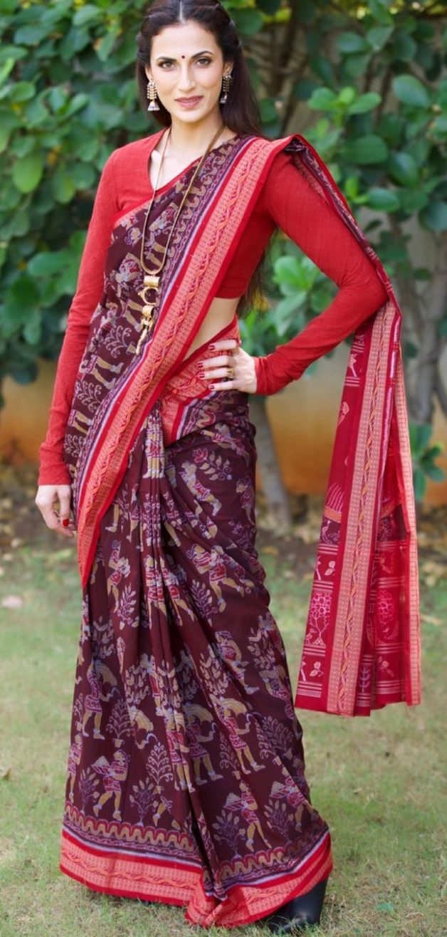Shilpa reddy in maroon saree by Kanktala for q&a2