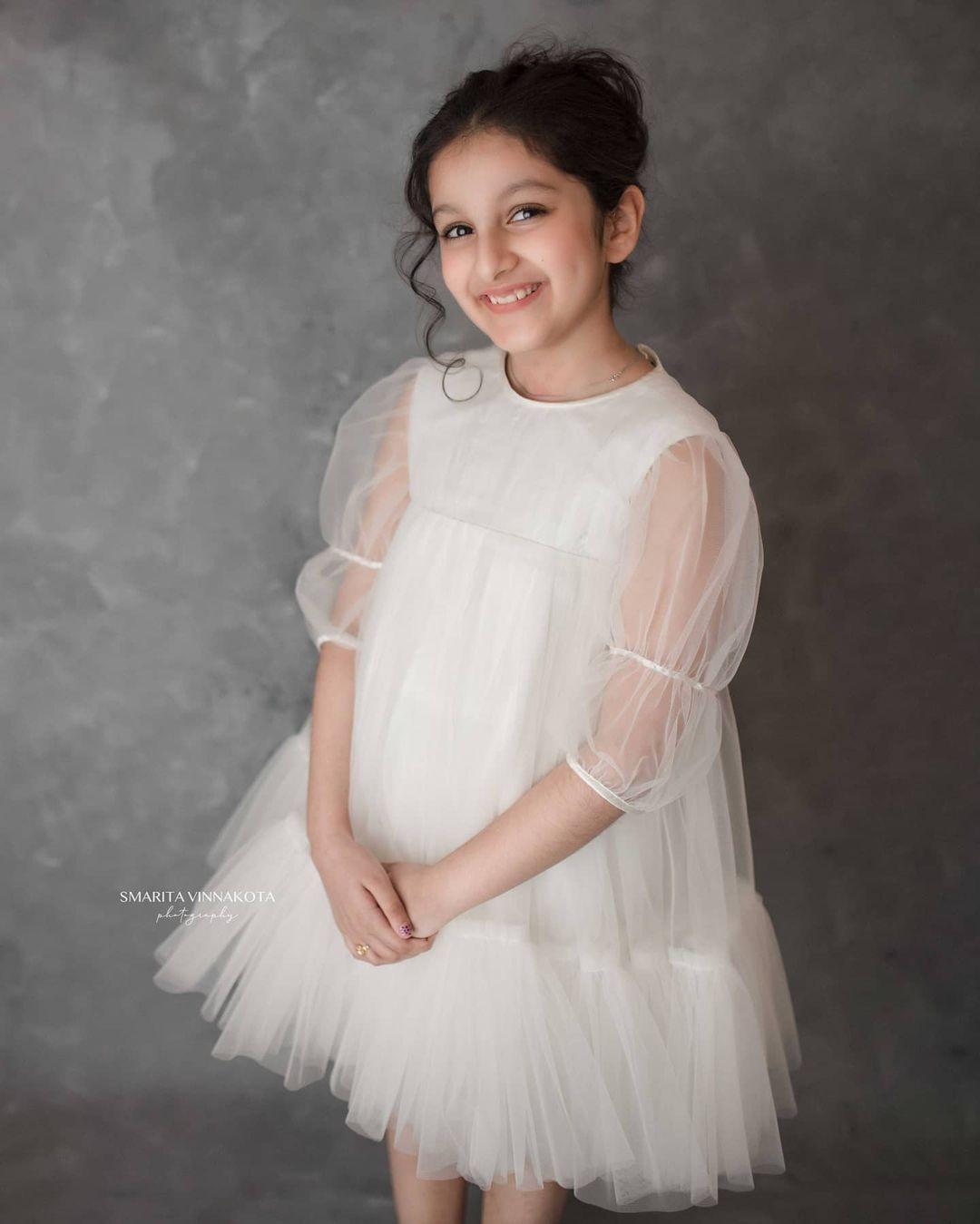 Sitara Ghattamaneni in a white dress by Janya's closet