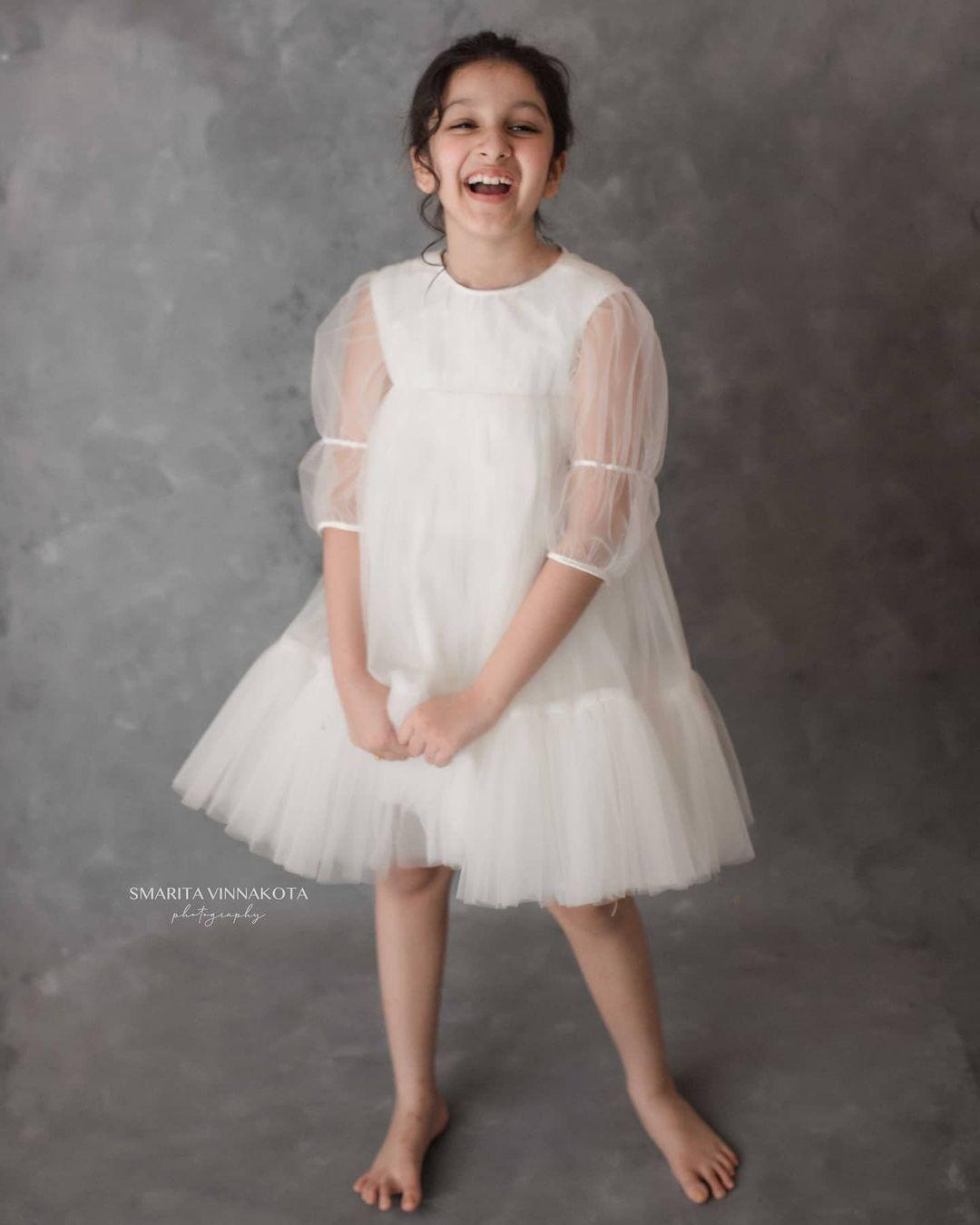 Sitara Ghattamaneni in a white dress by Janya's closet1