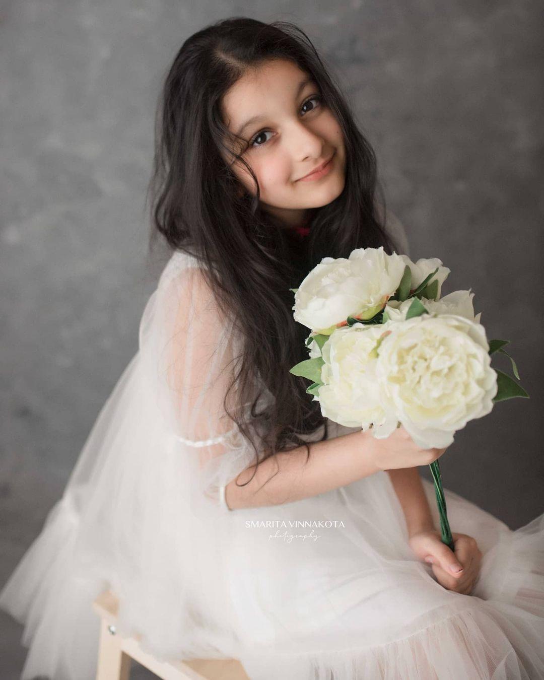 Sitara Ghattamaneni in a white dress by Janya's closet2