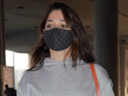 Tamannaah Bhatia at Hyderabad airport in a skirt and sweatshirt!