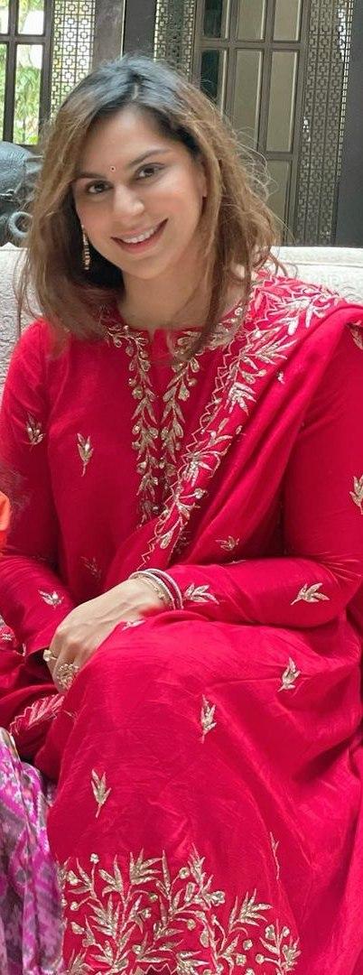 Upasana konidela in red suit by pratyusha garimella for sankranti