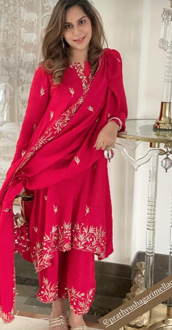 Upasana konidela in red suit by pratyusha garimella for sankranti2