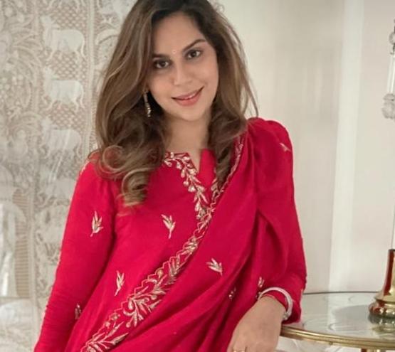 Upasana konidela in red suit by pratyusha garimella for sankranti3