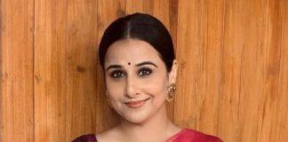 Vidya Balan in a black muhurth saree for a wedding4