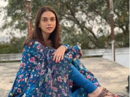 aditi rao hydari in a blue floral printed suit by drzya