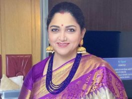 actress politician khushbu sundar purple silk saree