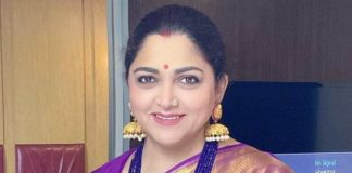 actress politician khushbu sundar purple silk saree