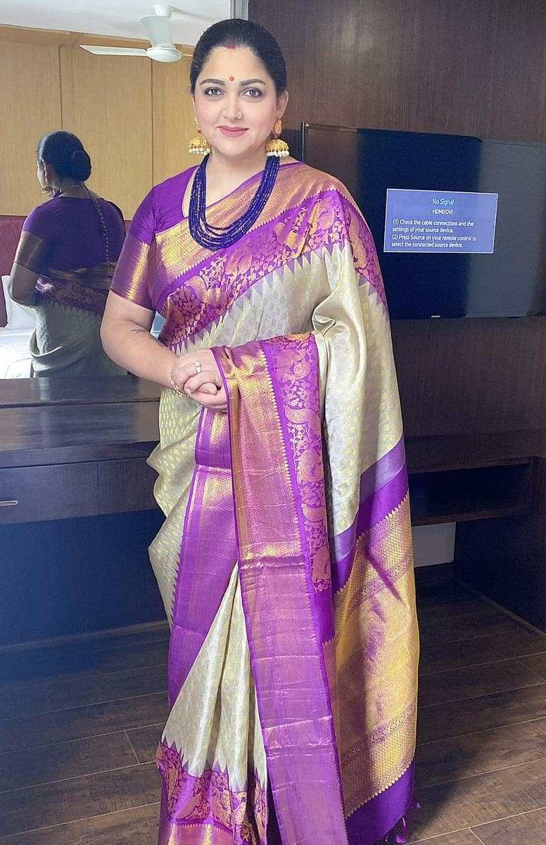 actress politician khushbu sundar silk saree look