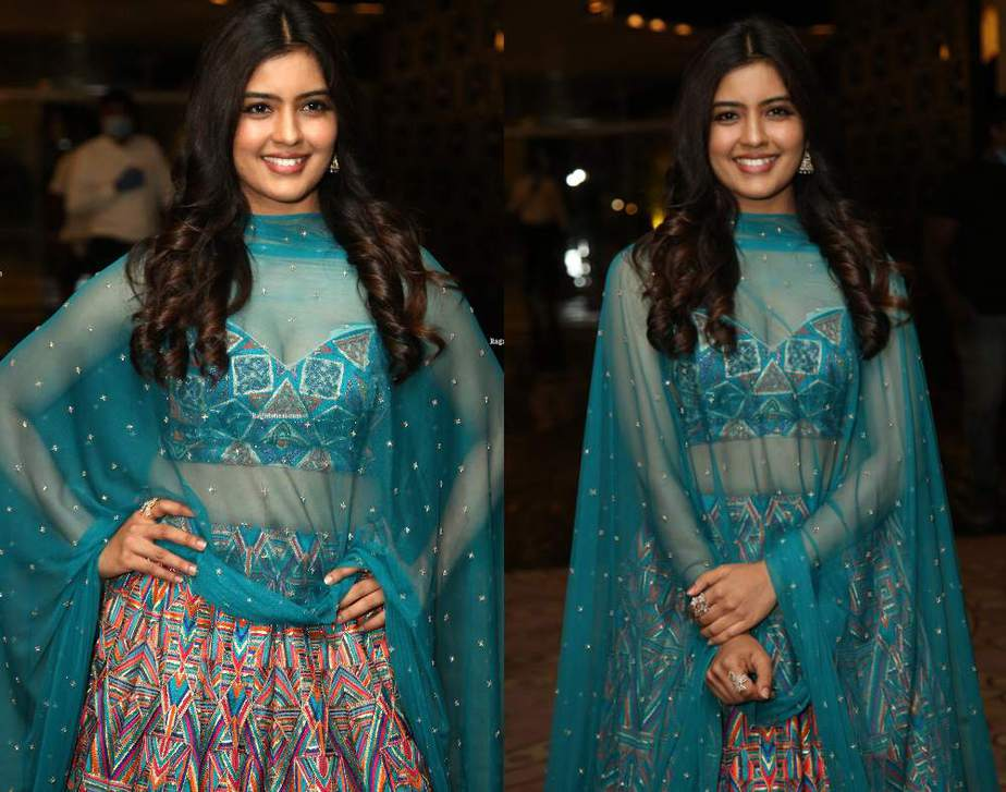amritha aiyer in blue lehenga at red prerelease event