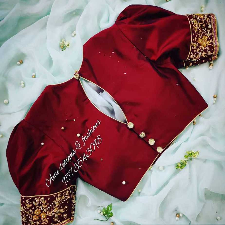 brown silk saree blouse with puff sleeves and back hole