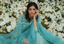 kalyani priyadarshan in mint green organza lace kurta set