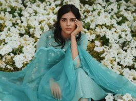kalyani priyadarshan in mint green organza lace kurta set