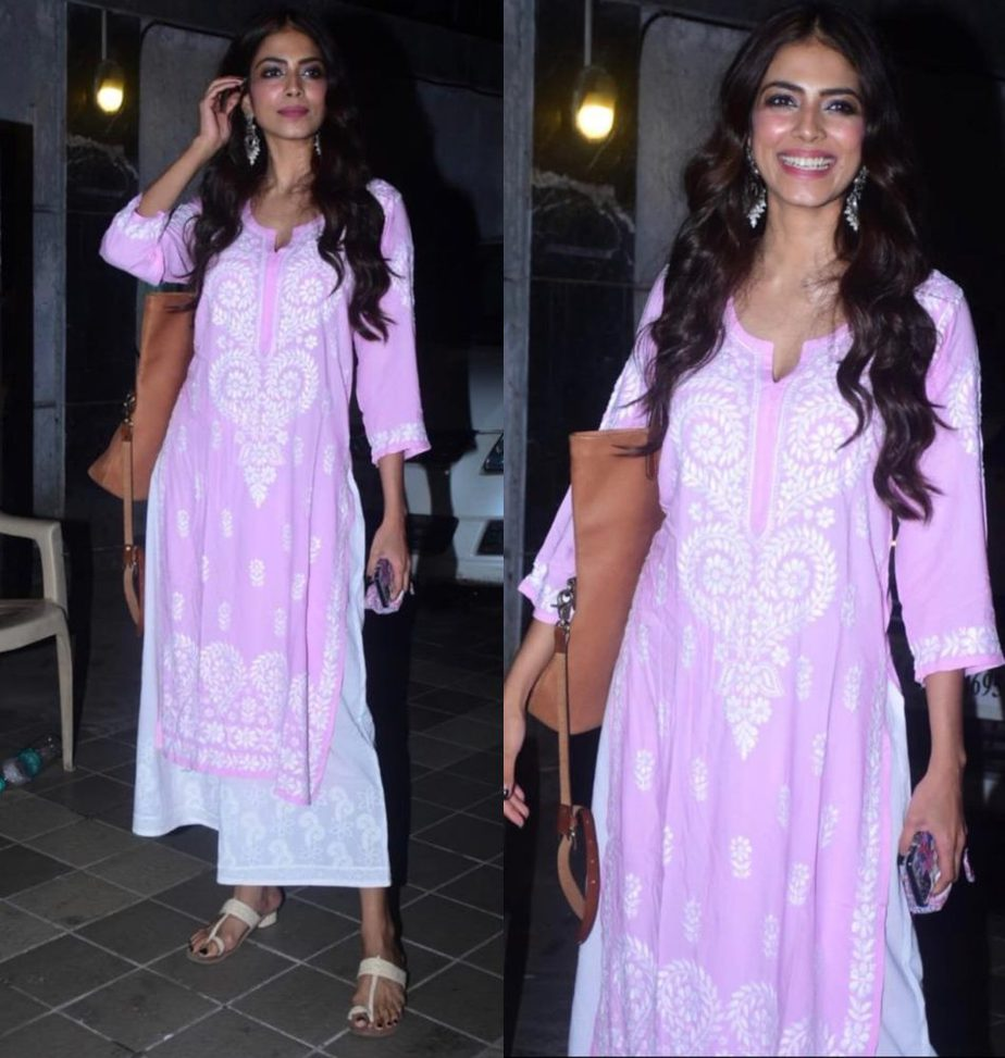 malavika mohanan looked pretty in pink outfit.