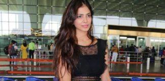 malavika mohnan in black net dress