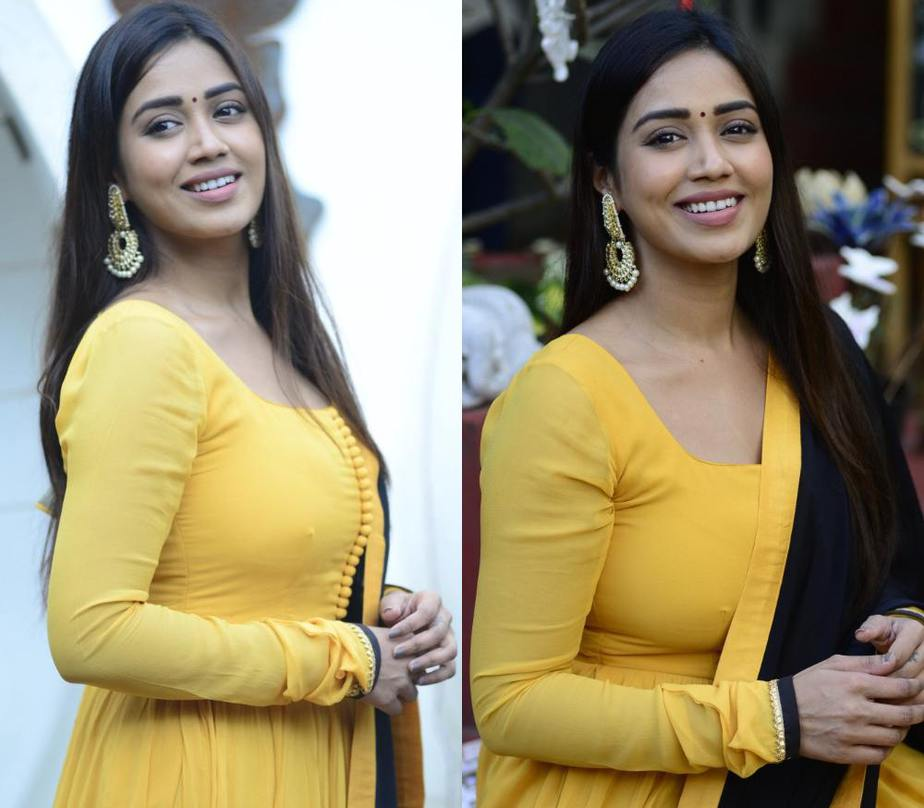 nivetha pethuraj in yellow and black full length anarkali suit set