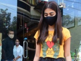 pooja hedge spotted in yellow crop top and denim jeans