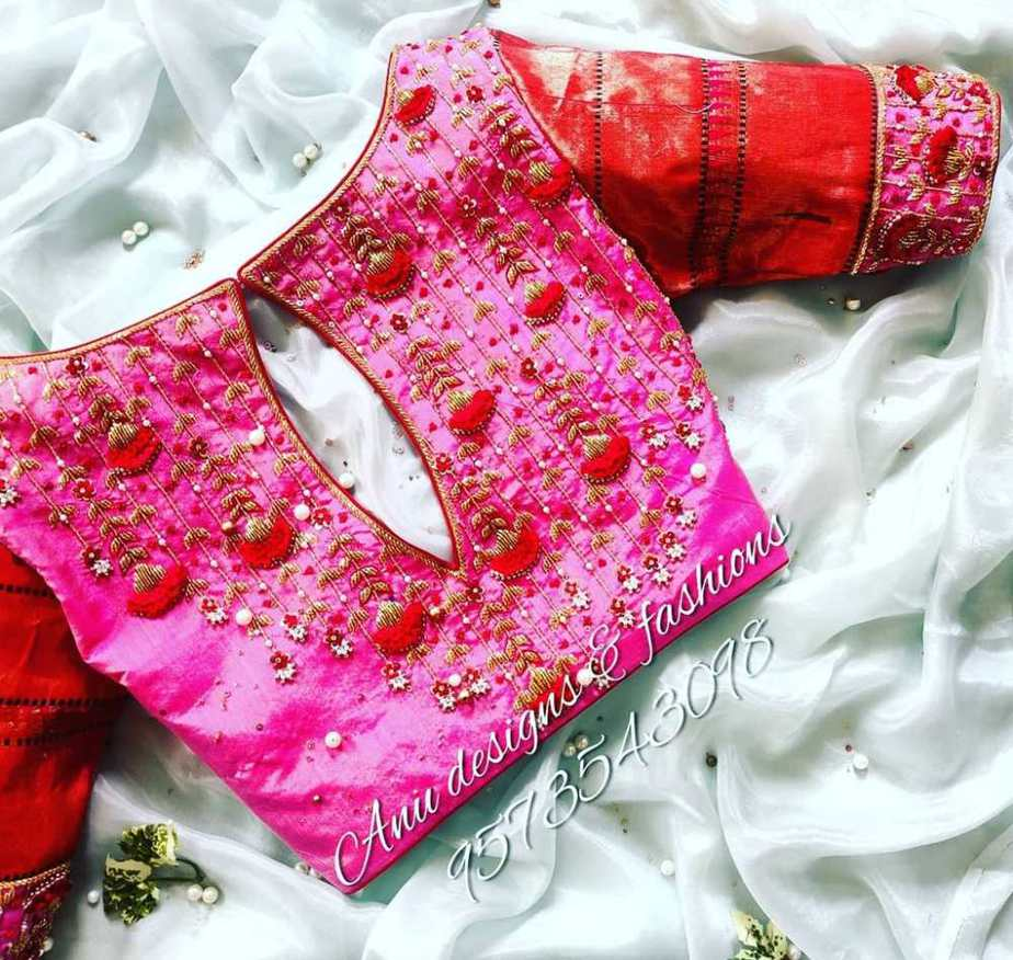 pink silk designer blouse with back hole and embroidery