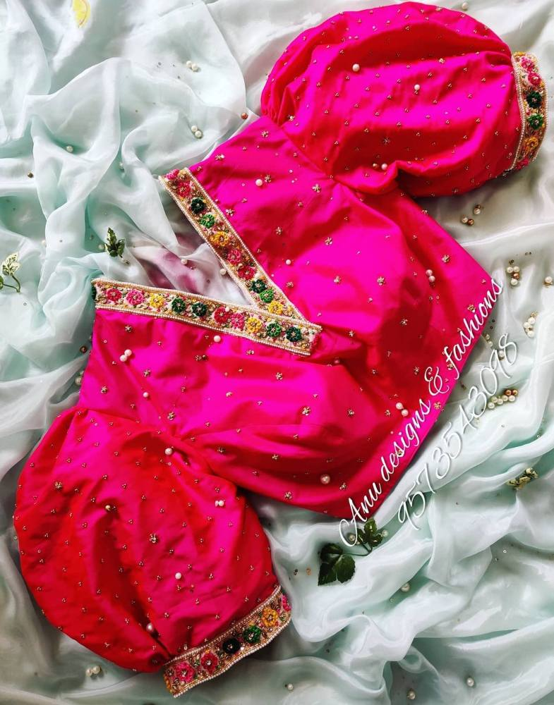 pink v-neck blouse with big puff sleeves by anu designs vizag