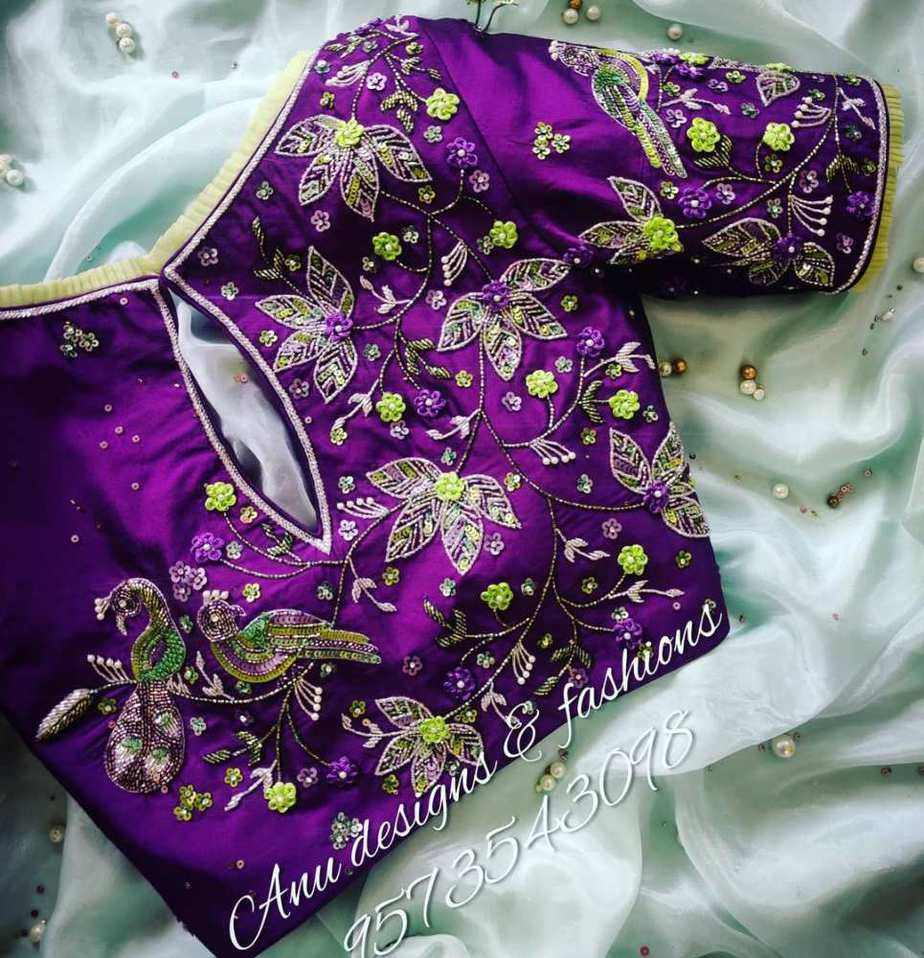 purple floral embroidery work blouse with back hole