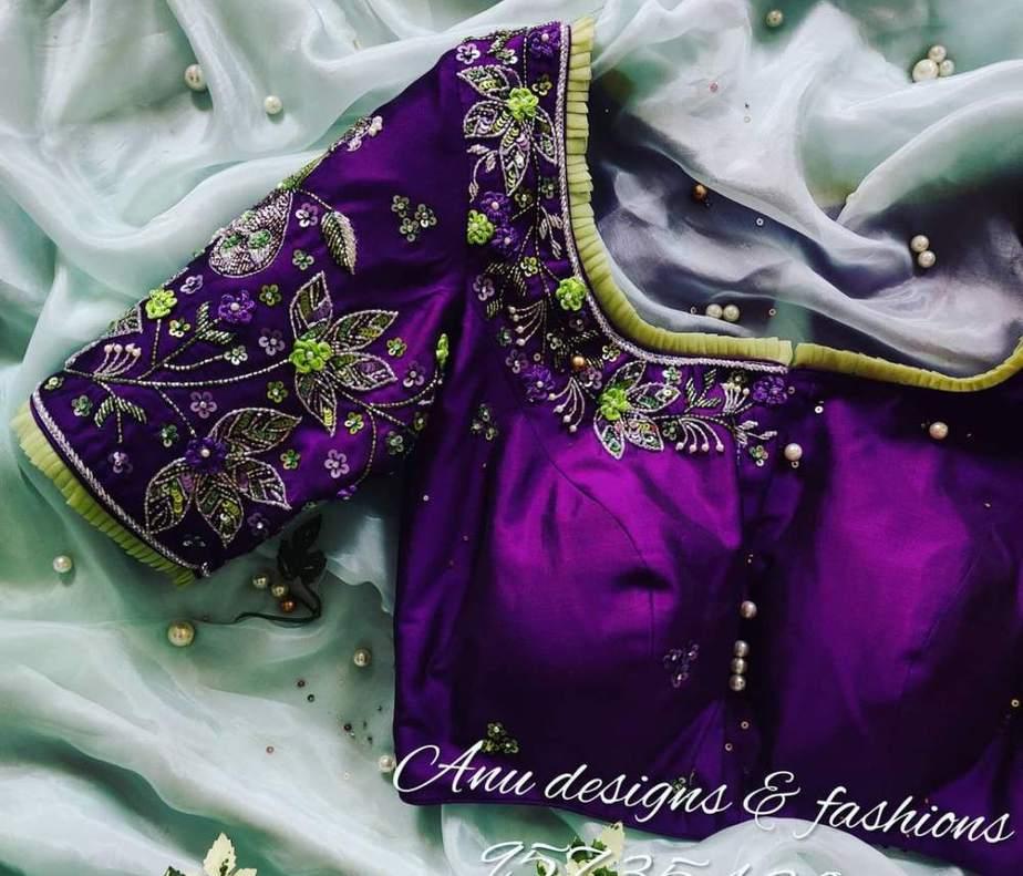 purple silk saree blouse with latest designs