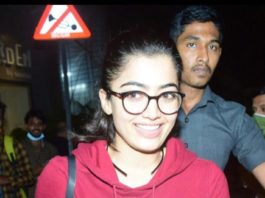 rashmika mandanna spotted in red sweatshirt along with denim jeans