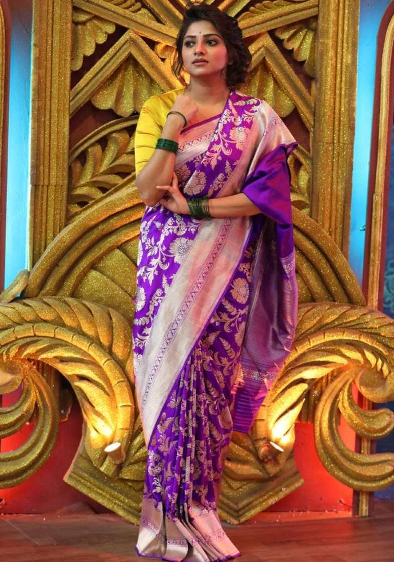 rachita ram in purple varanasi silk raw mango saree