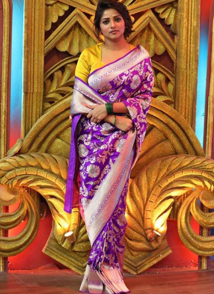 rachita ram purple silk raw mango saree