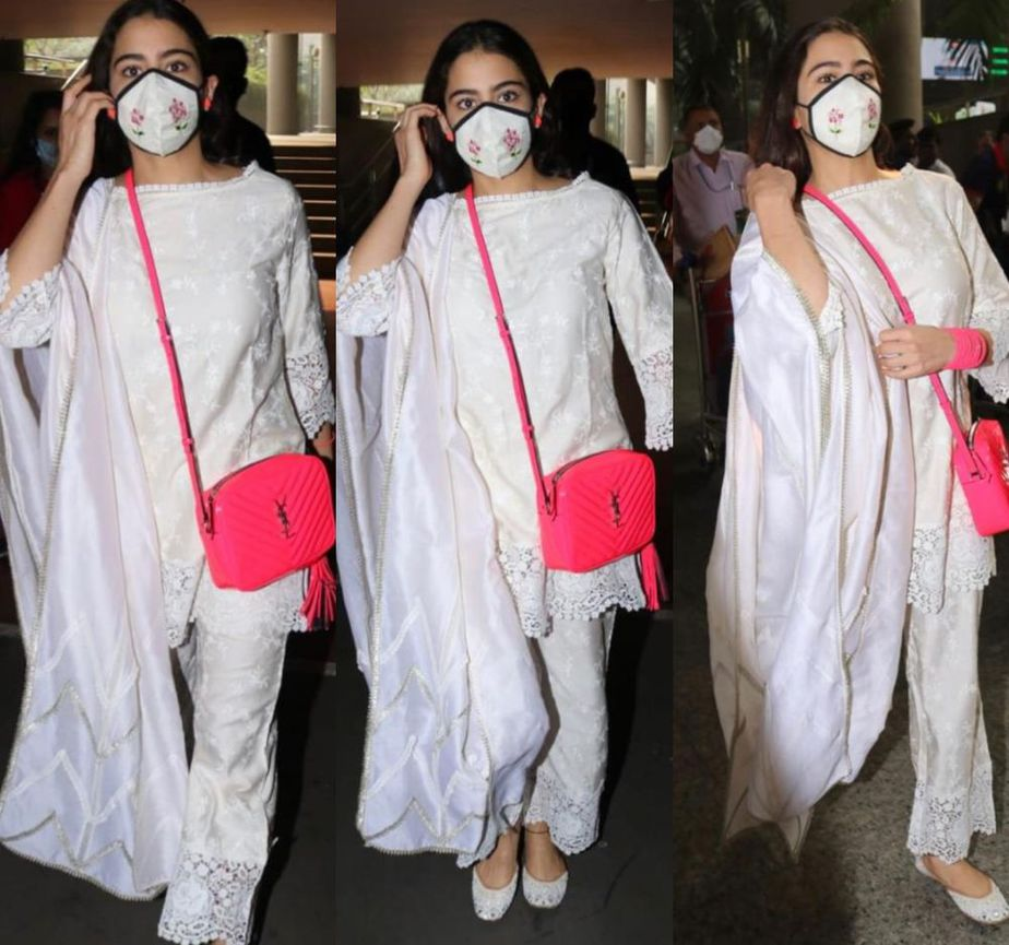 sara ali khan in an all-white outfit for the airport