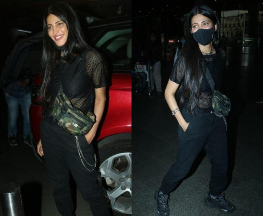 shruti haasan snapped airport with her boyfriend in all black