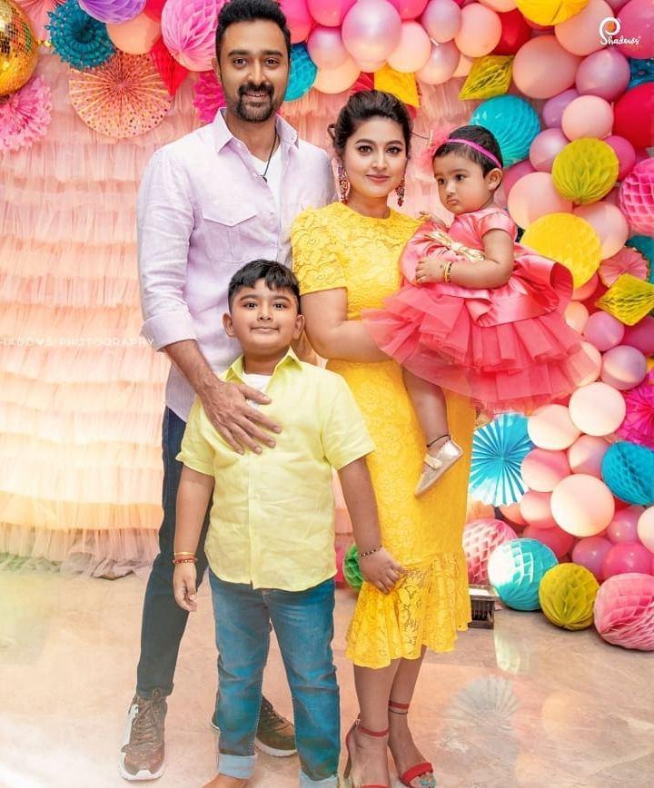 sneha prasanna family at daughter Aadyanthaa birthday bash