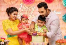 sneha prasanna family cake cutting at daughter Aadyanthaa birthday