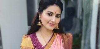 sneha prasanna in baby pink violet kanjeevaram saree for pongal 2021