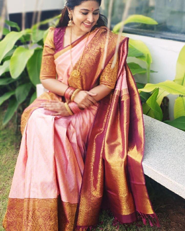 sneha prasanna in baby pink violet kanjeevaram saree for pongal