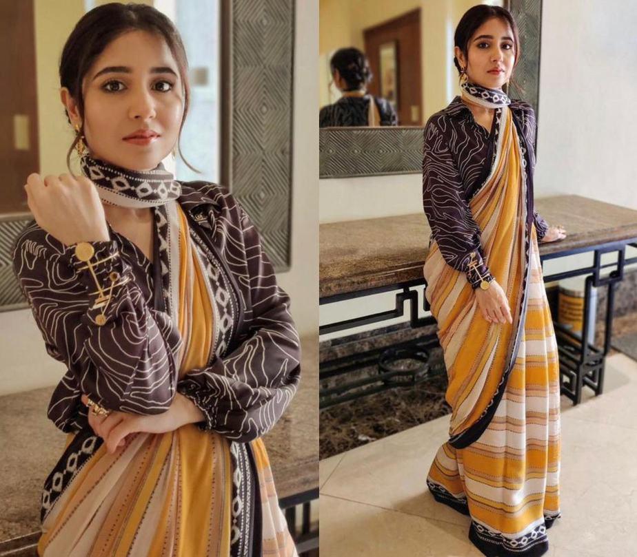 shweta tripathi in a shirt saree from label yam india