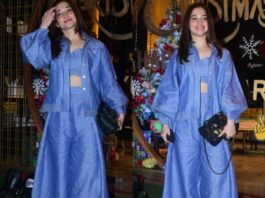 tamanna bhatia in a blue co-ord set outside saloon.