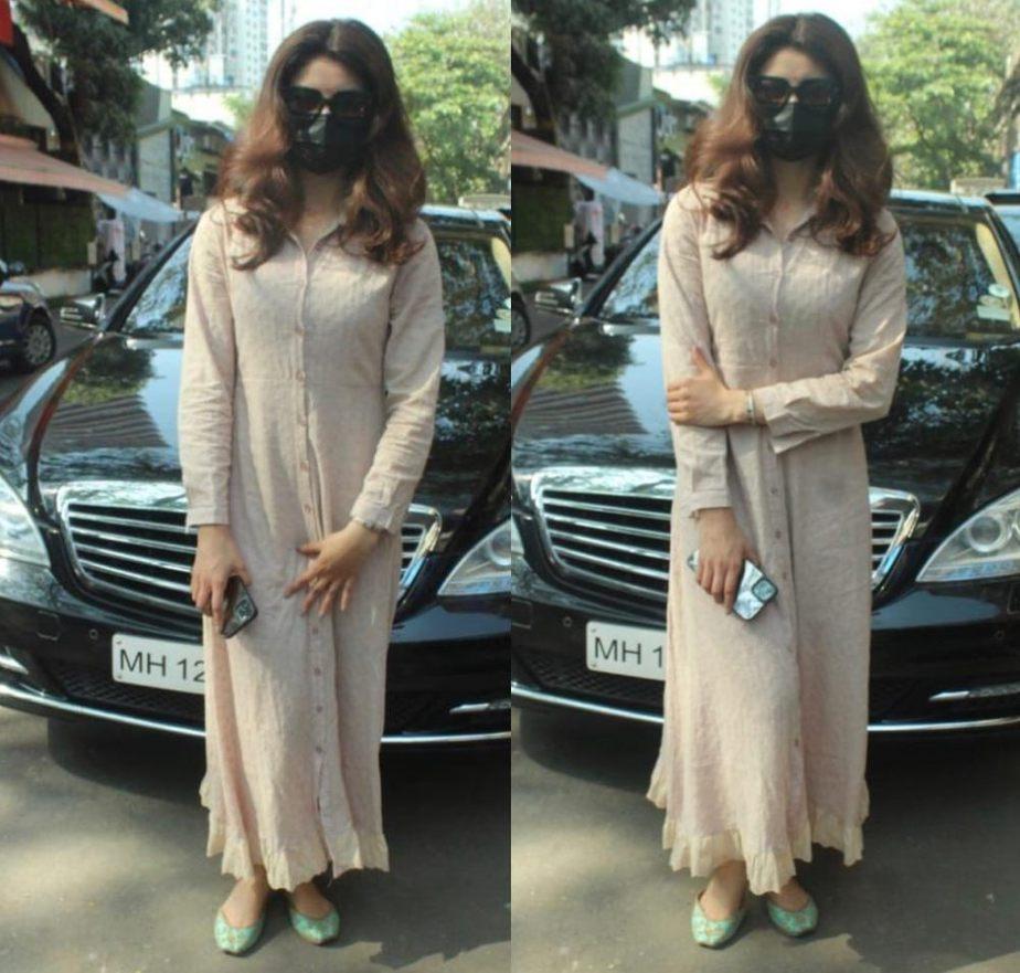 urvashi rautela in light brown long kurta dress