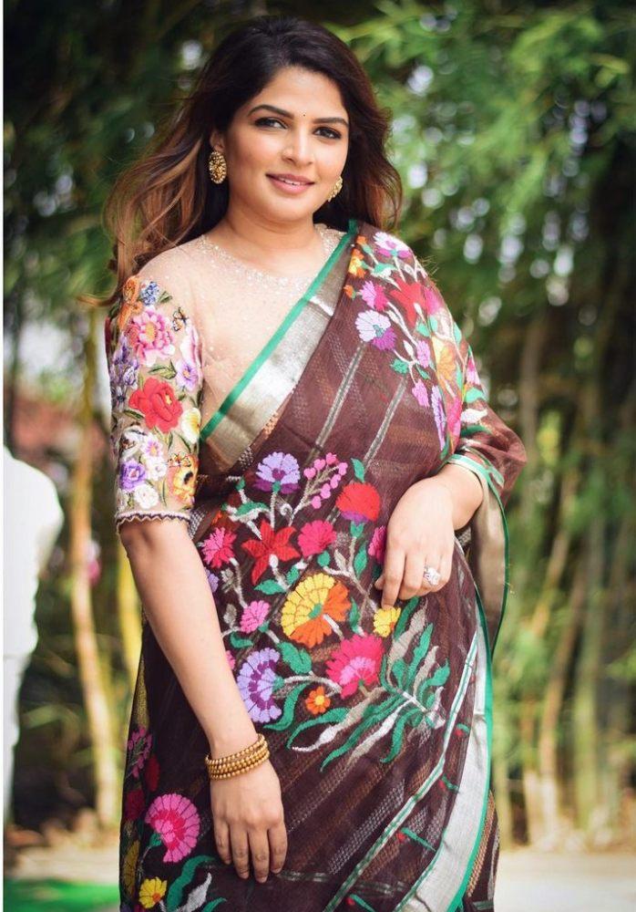 viranica manchu brown floral saree for bhogi 2021
