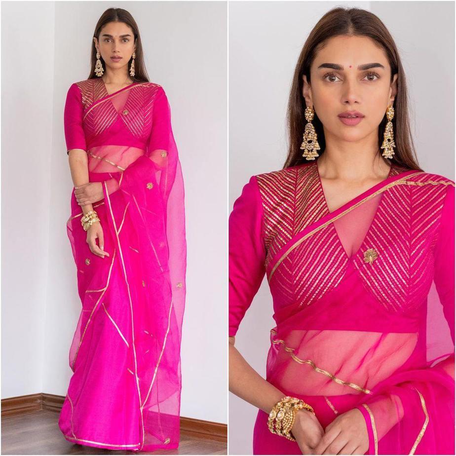 Aditi Rao Hydari in rani pink raw mango saree for Dia mirza wedding4