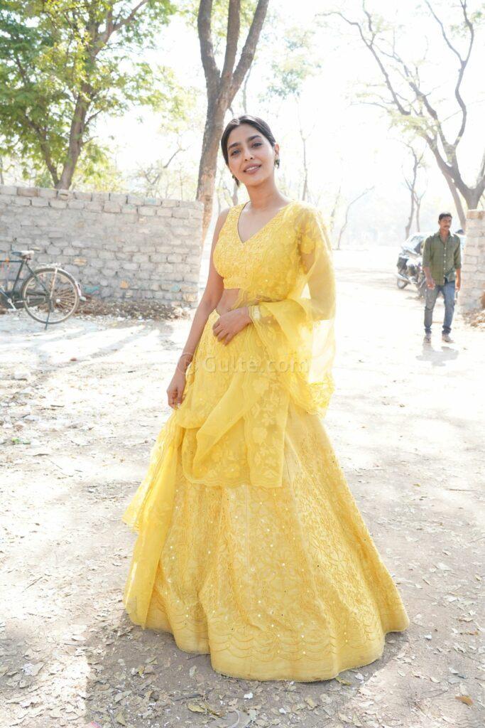 Aishwarya lekshmi in yellow lehenga at godse movie launch event
