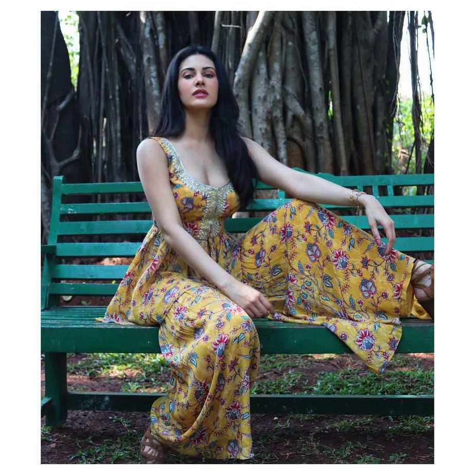 Amyra Dastur in a yellow indowestern outfit by Chhavi aggarwal