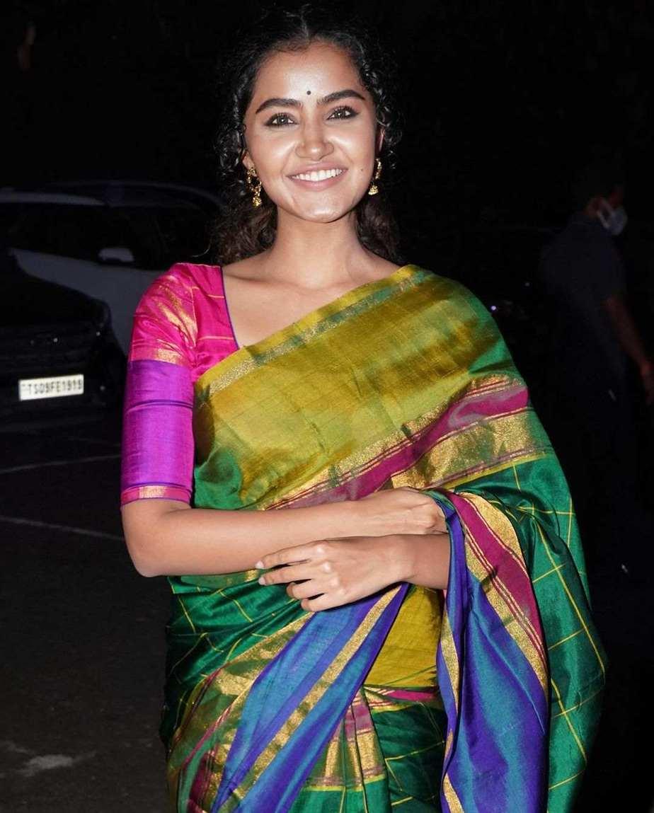 Anupama Parameshwaran in multi colour uppada silk saree at director Sukumar's family function-1