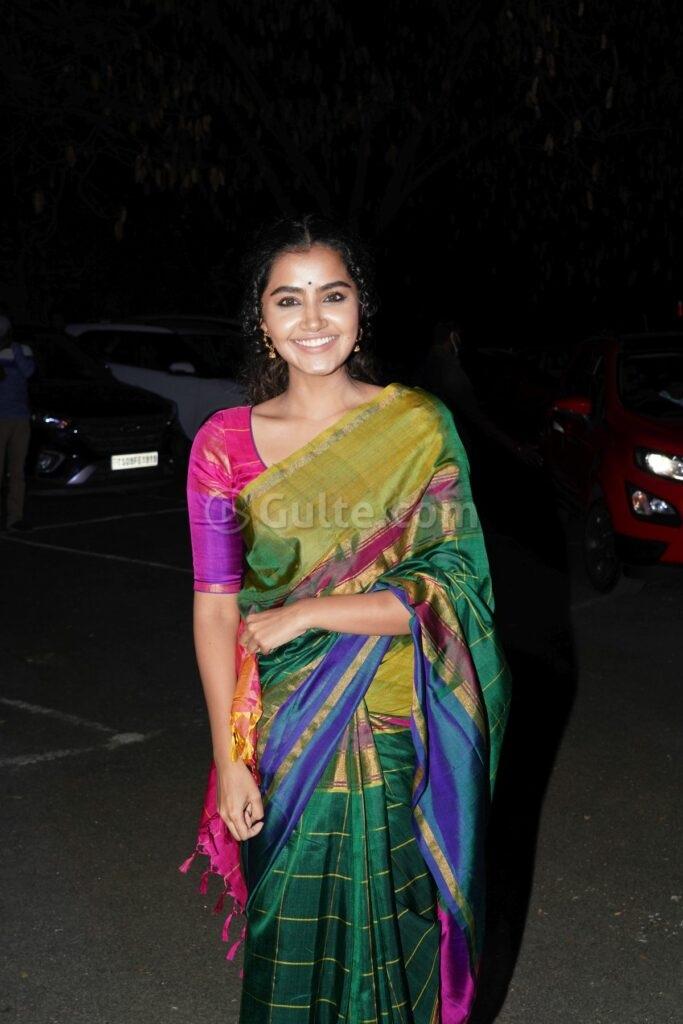 Anupama Parameshwaran in multi colour uppada silk saree at director Sukumar's family function-2